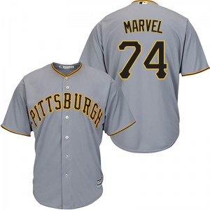 James Marvel Pittsburgh Pirates Youth Replica Cool Base Road Majestic Jersey - Gray